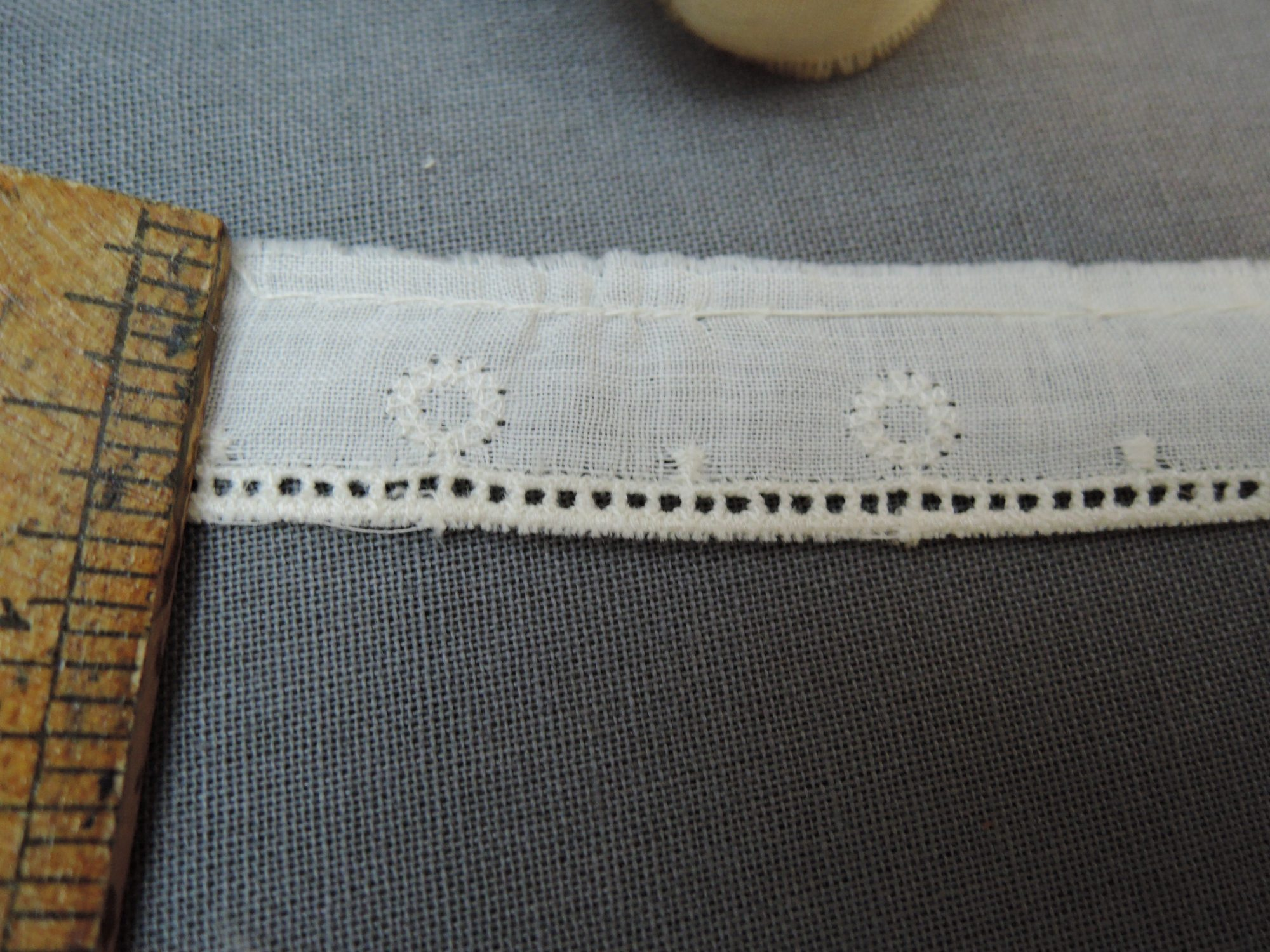 Vintage Cotton Lace Trim with Embroidery and Drawn Work, edging, Baby, 3+ yards