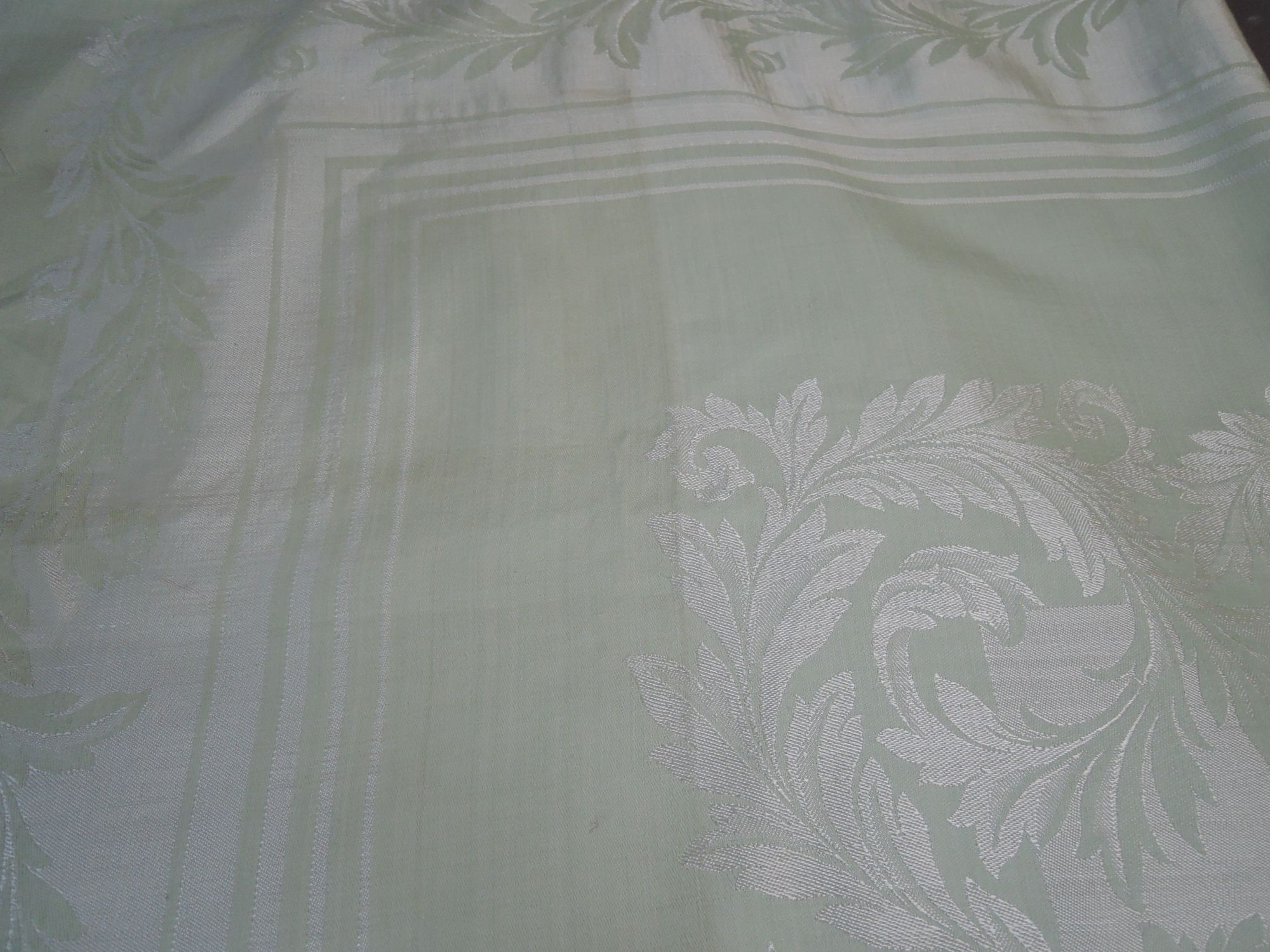 Vintage Mint Green Damask Tablecloth, 1940s 50 x 49 inches, Made in Belgium