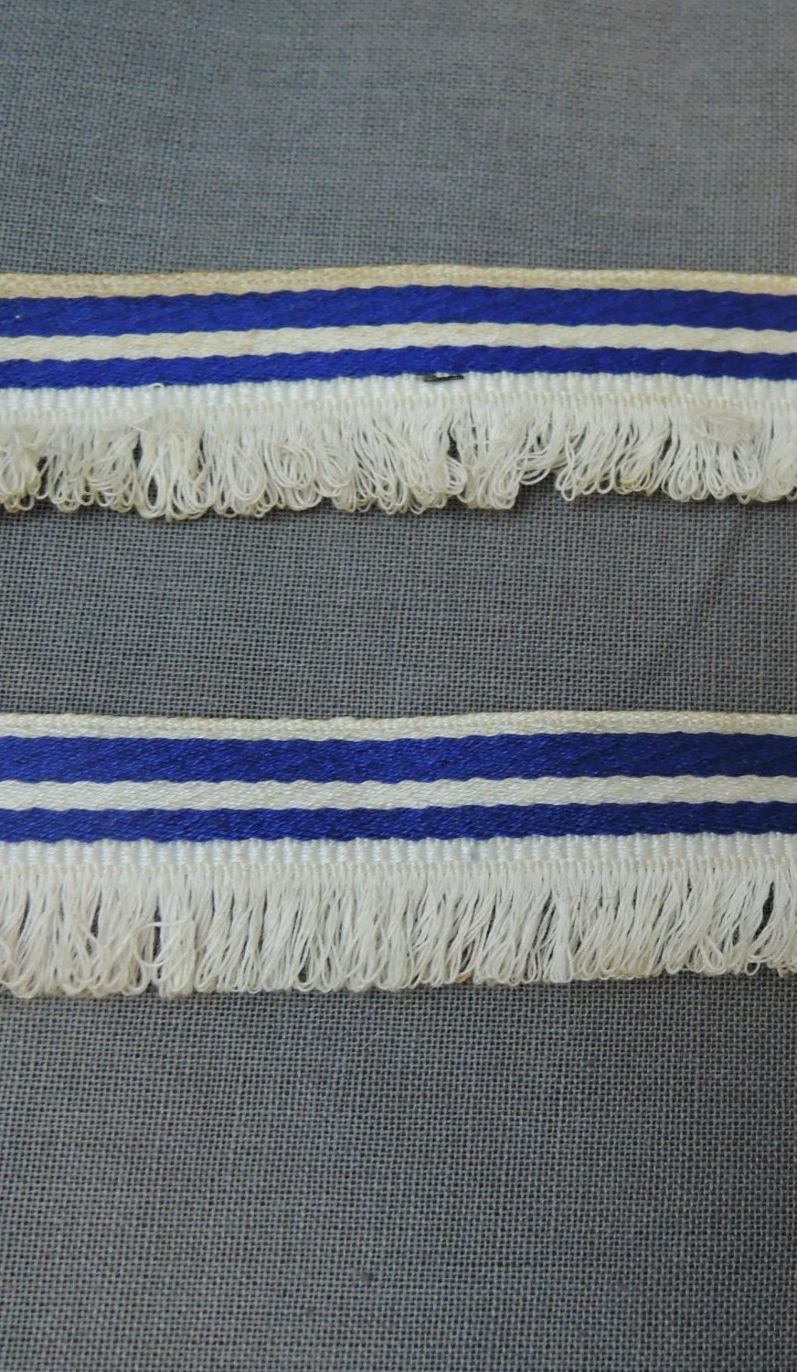 Vintage Woven Ribbon Trim, Blue Striped Cotton with Fringe, 2 yards