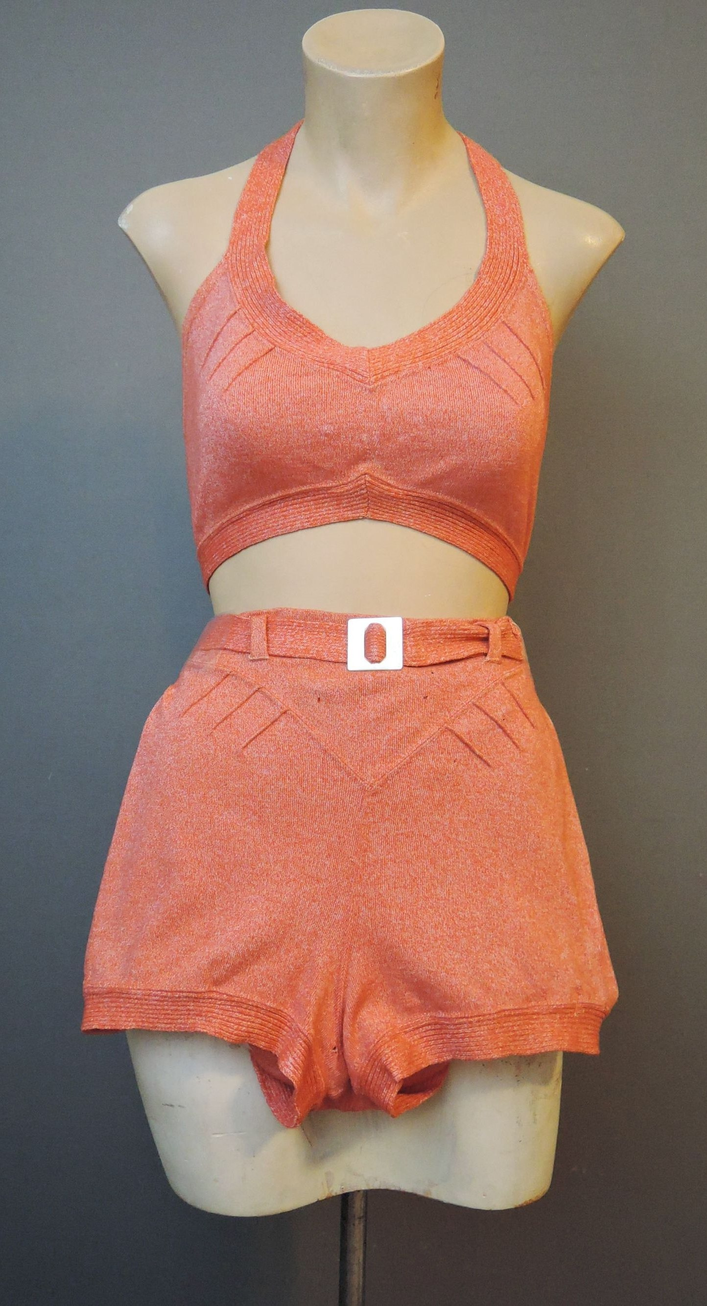 Vintage 1930s 2 Piece Swimsuit, Wool Knit Bradley, Red Orange with Buckle, as is Bathing suit