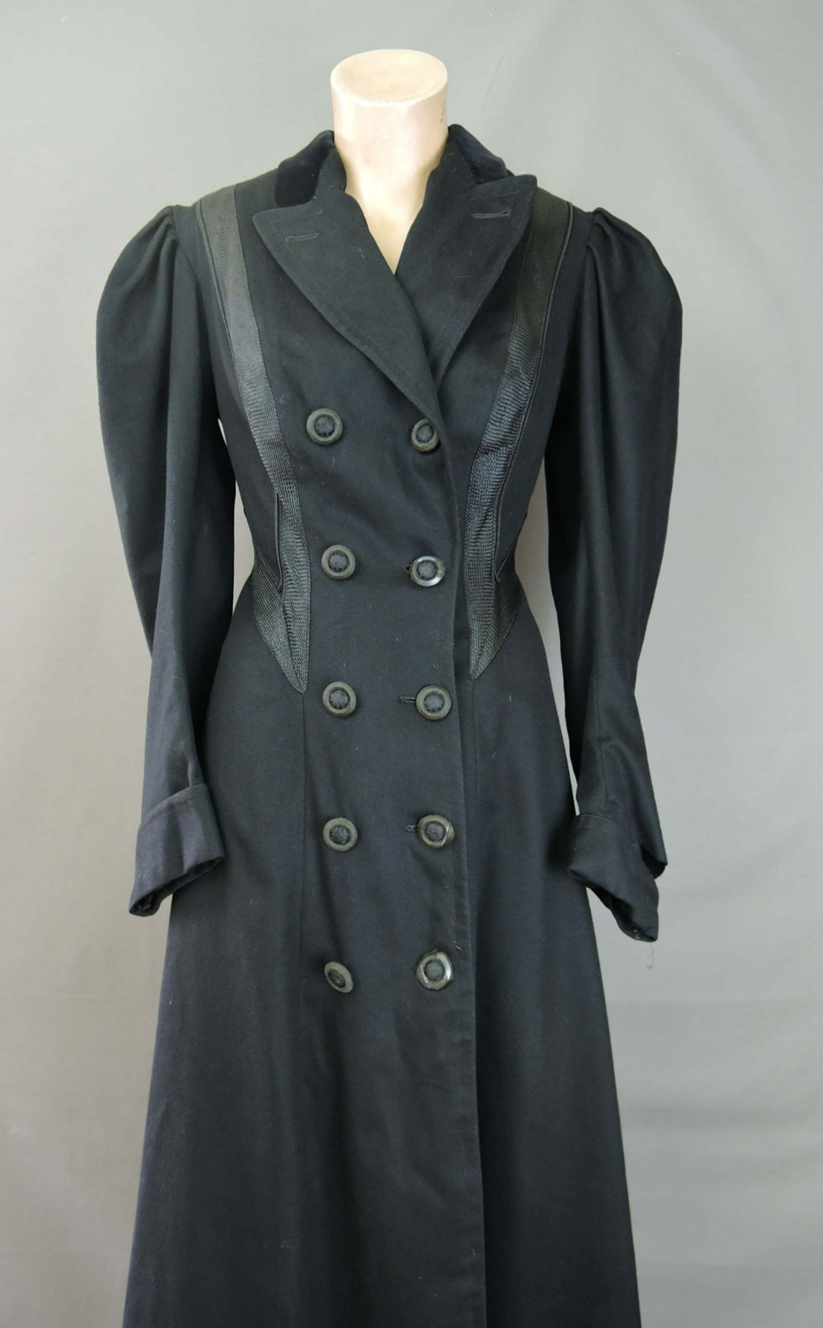 Victorian 1800s Long Coat, Fitted Black Wool fits 34 inch bust, Rayon Trim, Puffed Shoulders