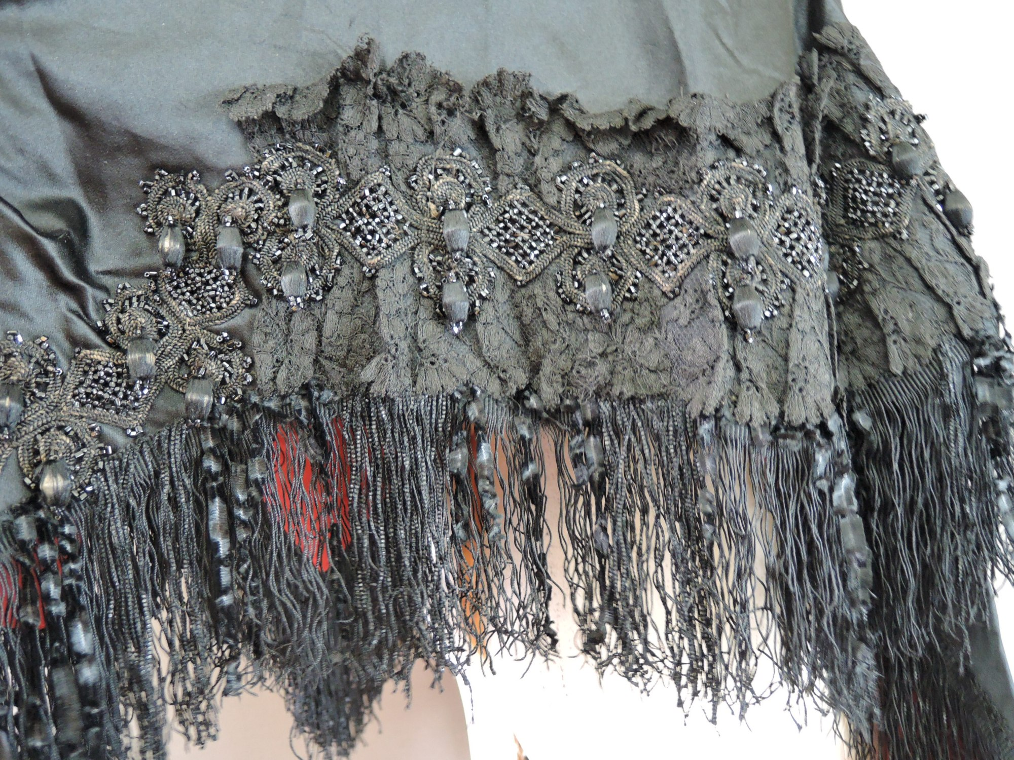 Victorian Black Beaded Cape Mantle, Small fits 34 inch bust, 1800s Mourning Silk Satin & Fringe