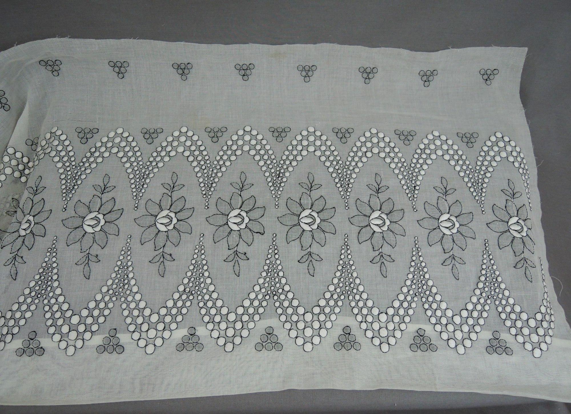 Vintage 1920s Embroidered Lace Dress Remnant, 1910s Black & White Floral
