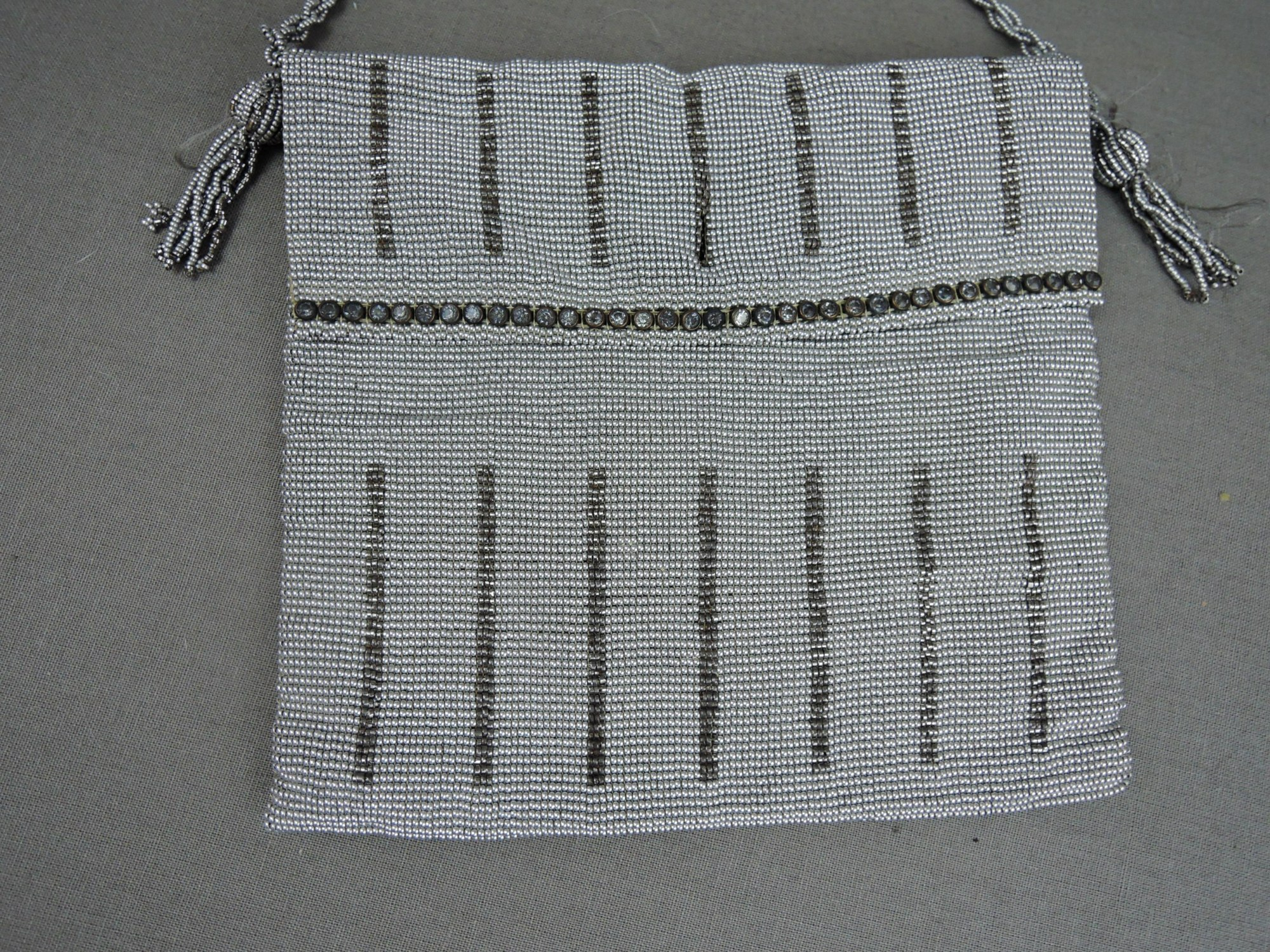 Antique Silver Beaded Purse 1920s with Rhinestones, needs new lining