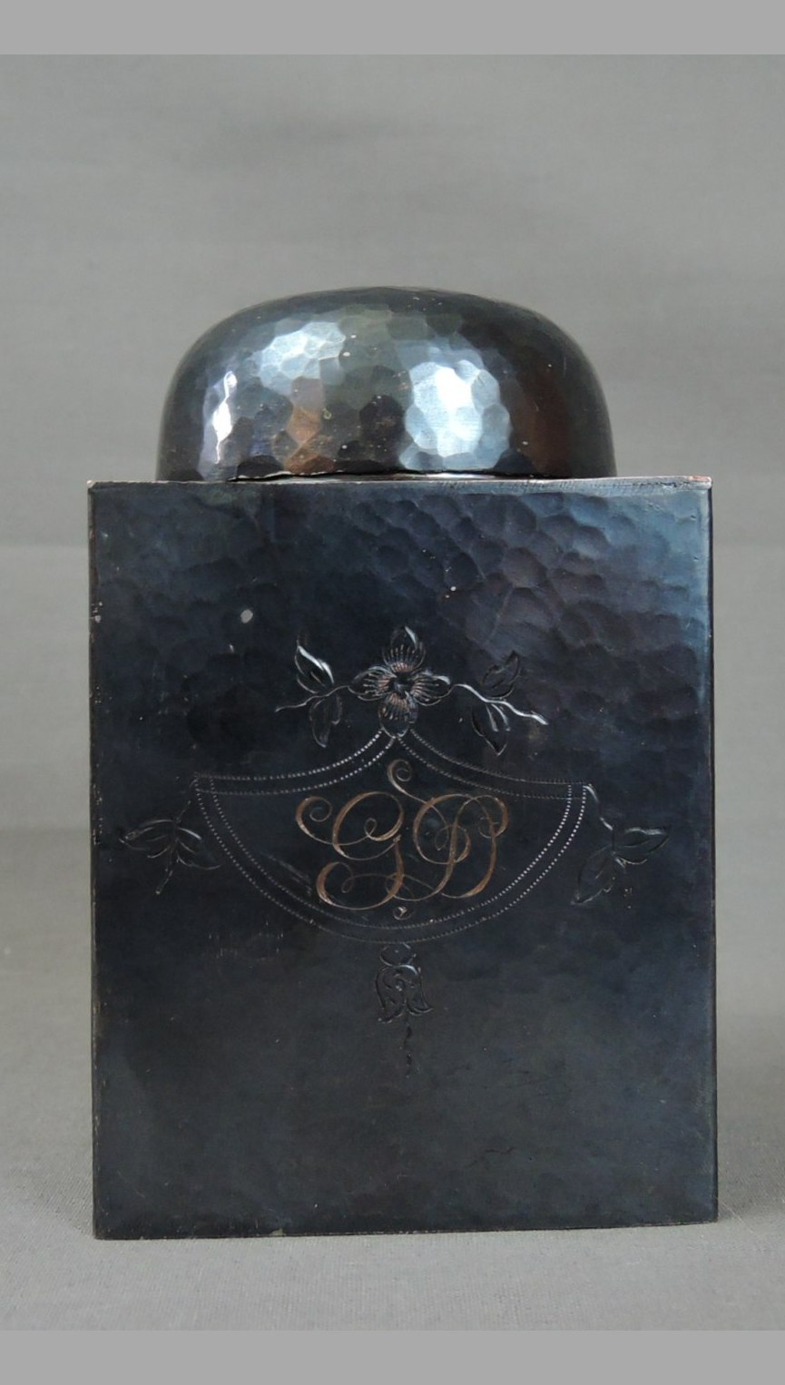 Vintage Cremation Urn, 1920s Etched Initials, Hammered Metal, 5 inches tall