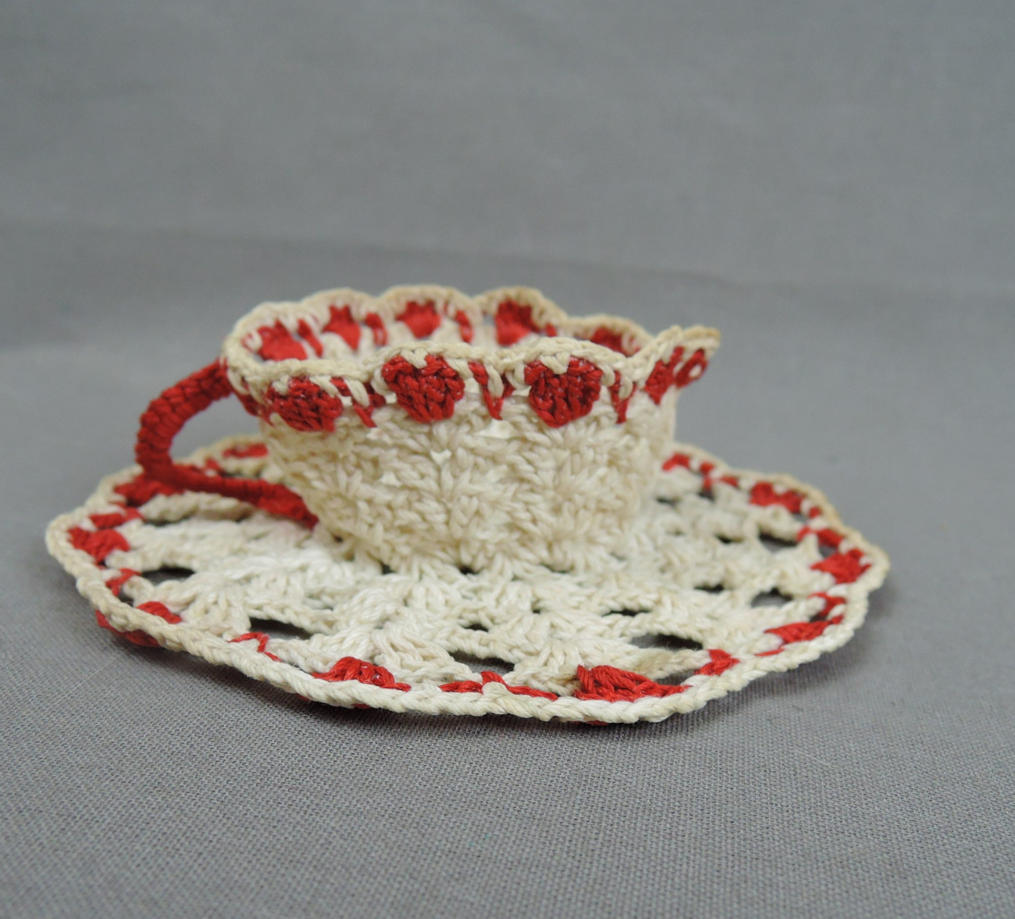 Vintage Red & White Crochet Doily and Teacup, plus Lace Piece