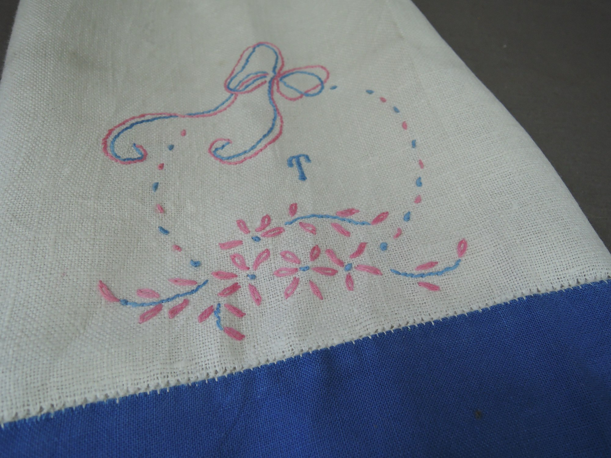 Vintage 1920s Dishtowel with Embroidery, Pink & Blue Floral, Initial 'T'  Kitchen