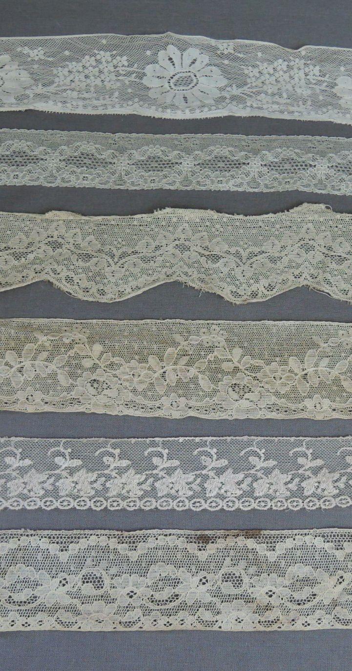 6 Pieces Vintage Lace Trim Remnants, Antique to 1950s Lingerie Dress Trims