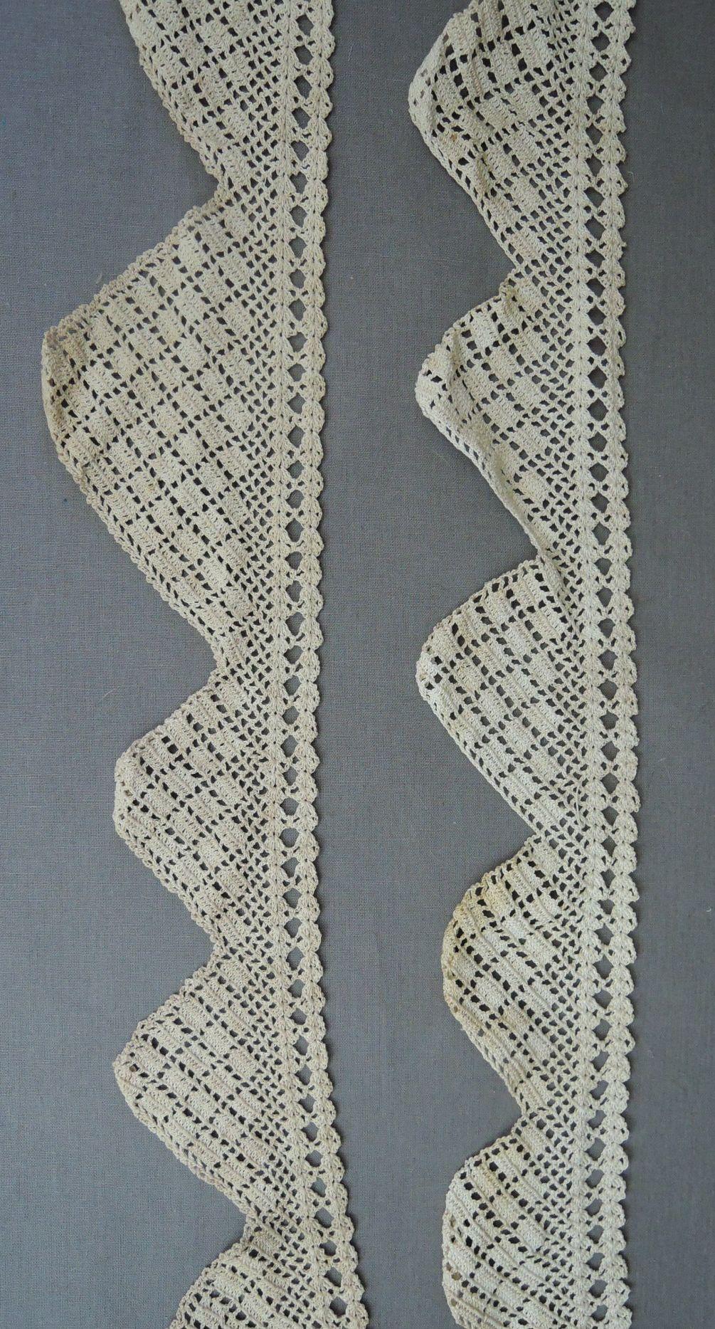 2 Pieces Antique Crochet Lace Trim, Vintage Handmade 1900s