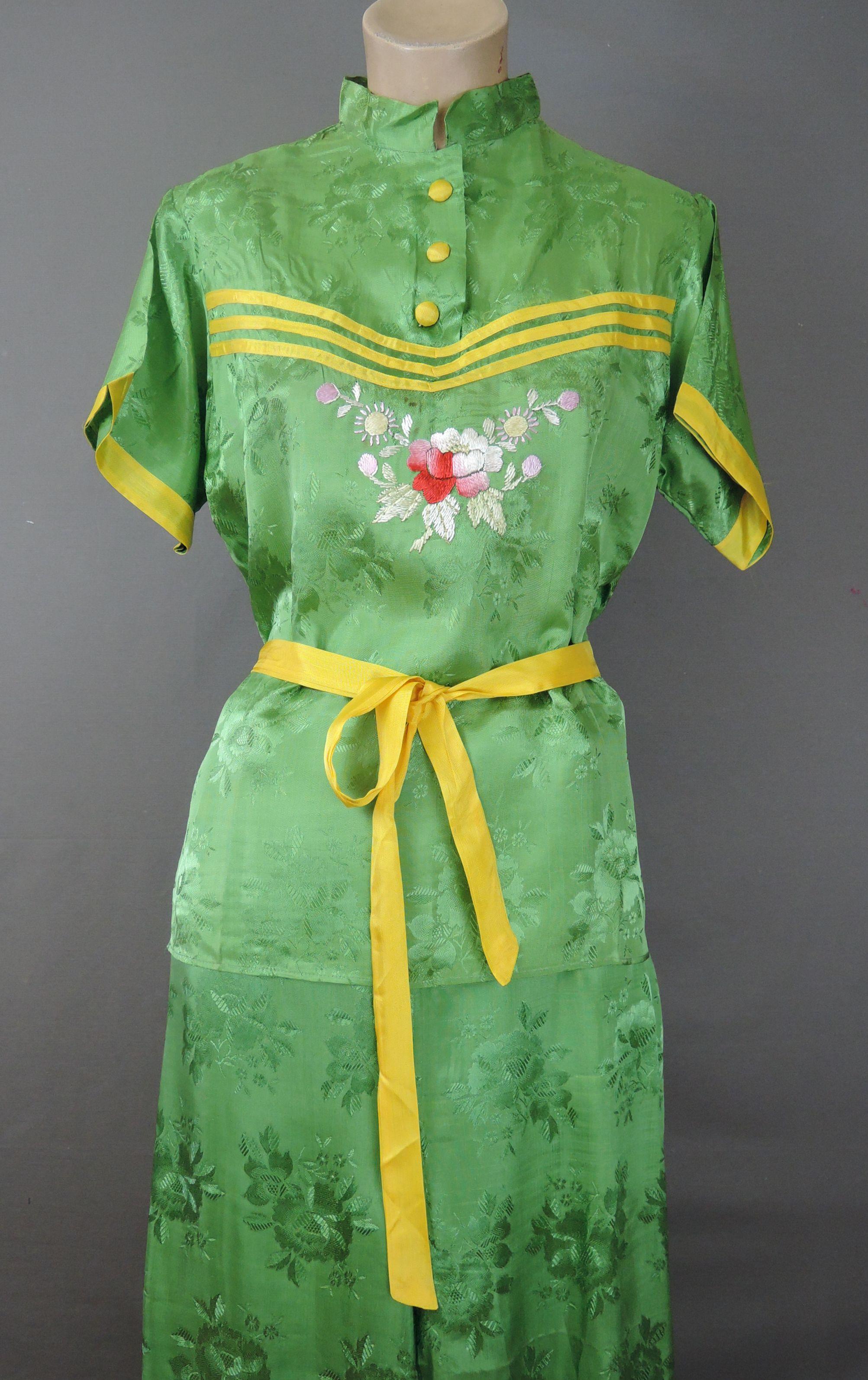 Vintage 1940s Embroidered Pajamas, Wide Legged Rayon, 38 bust