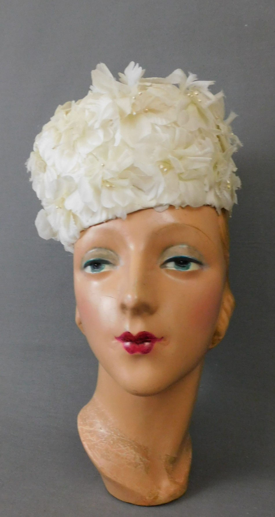 Vintage Ivory Floral Pillbox Hat, 1960s fits 21 inch head