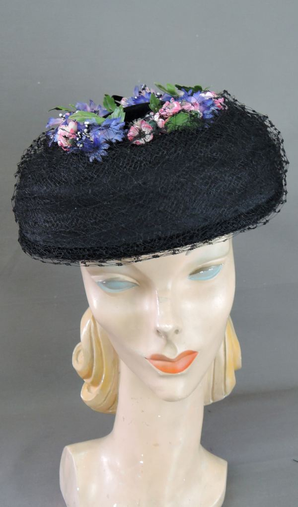 Vintage 1950s Black Floral Hat Velvet and Tulle Pink & Purple Flowers