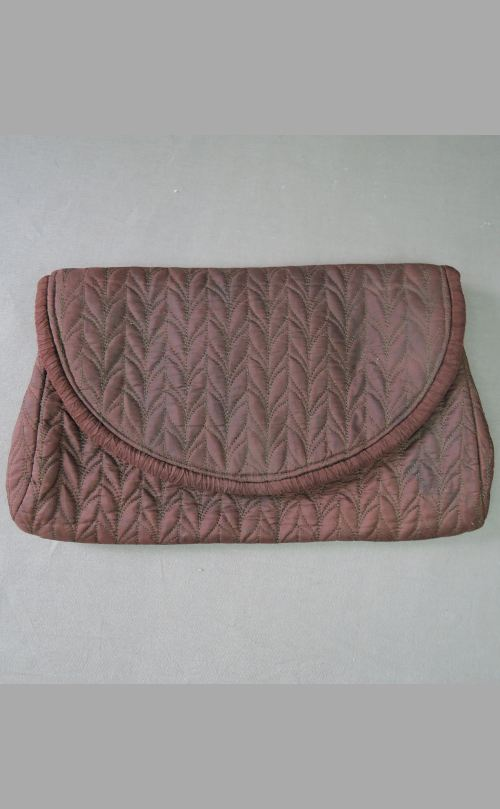 Vintage Quilted Rayon Clutch Purse, 1930s 1940s Graceline, as is with fade