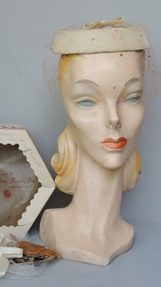 Vintage 1950s Ivory Velvet Wedding Hat in Box with Corsage, any size