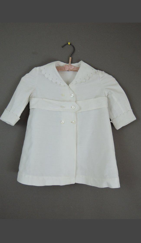 Antique White Toddler Child Coat, 26 inch Chest, 1900s 1920s Cotton