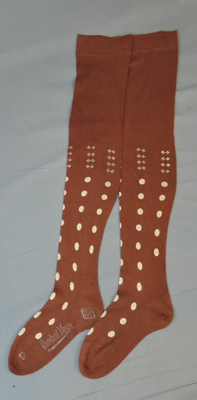 Vintage Stockings Edwardian 1910s Brown Polka Dot Cotton size 8-1/2