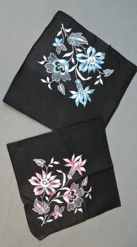 2 Vintage Black Hankies with Floral Embroidery, Pink & Blue, unused 1950s 1960s
