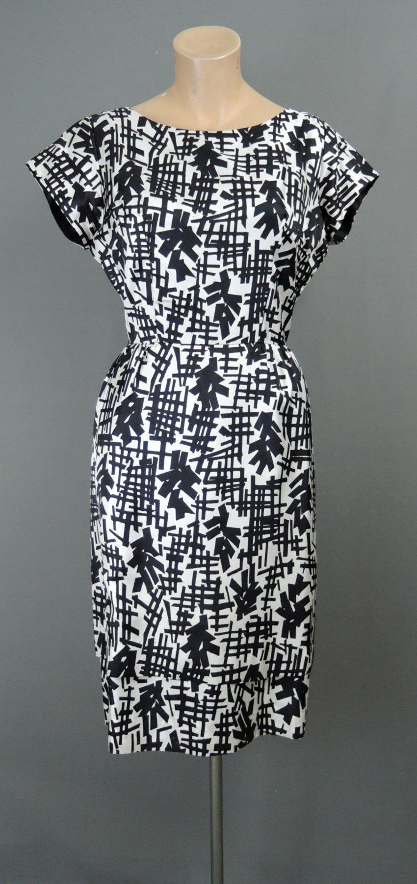 Vintage 1950s Dress Black & White, 36 bust, Double Skirt Silky