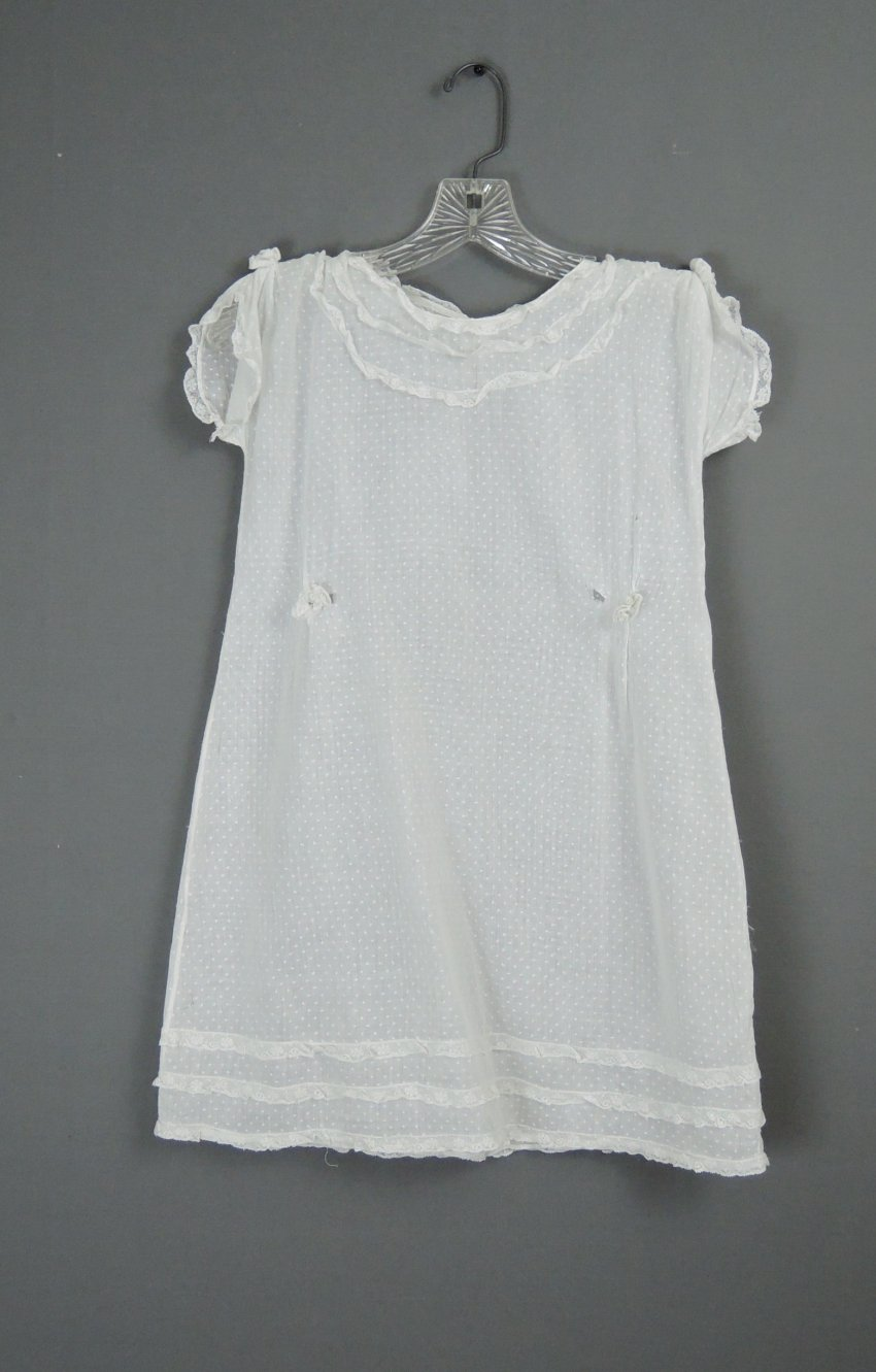 Vintage 1920s Little Girl's Dress White Cotton Dotted Swiss, with issues, 28 inch chest
