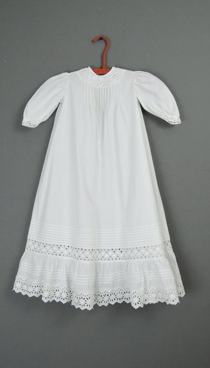 Antique Baby Dress 1900s Eyelet Trim, 24 inch Chest