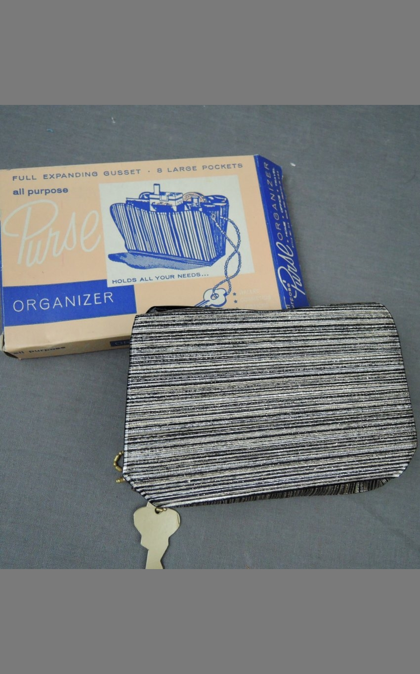 Vintage Purse Organizer 1950s 1960s Black & Silver Vinyl, unused in box