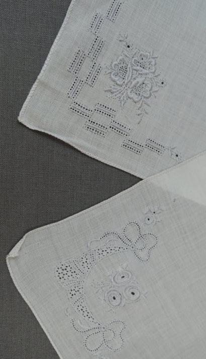 2 Vintage Hankie Floral Grey Embroidery 1950s