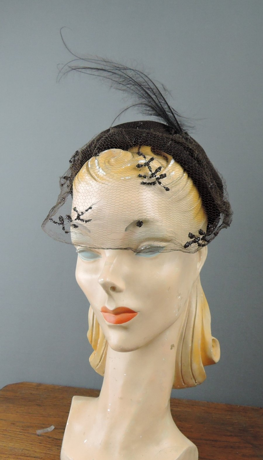 Vintage 1940s Brown Hat with Feathers and Sequin Veil