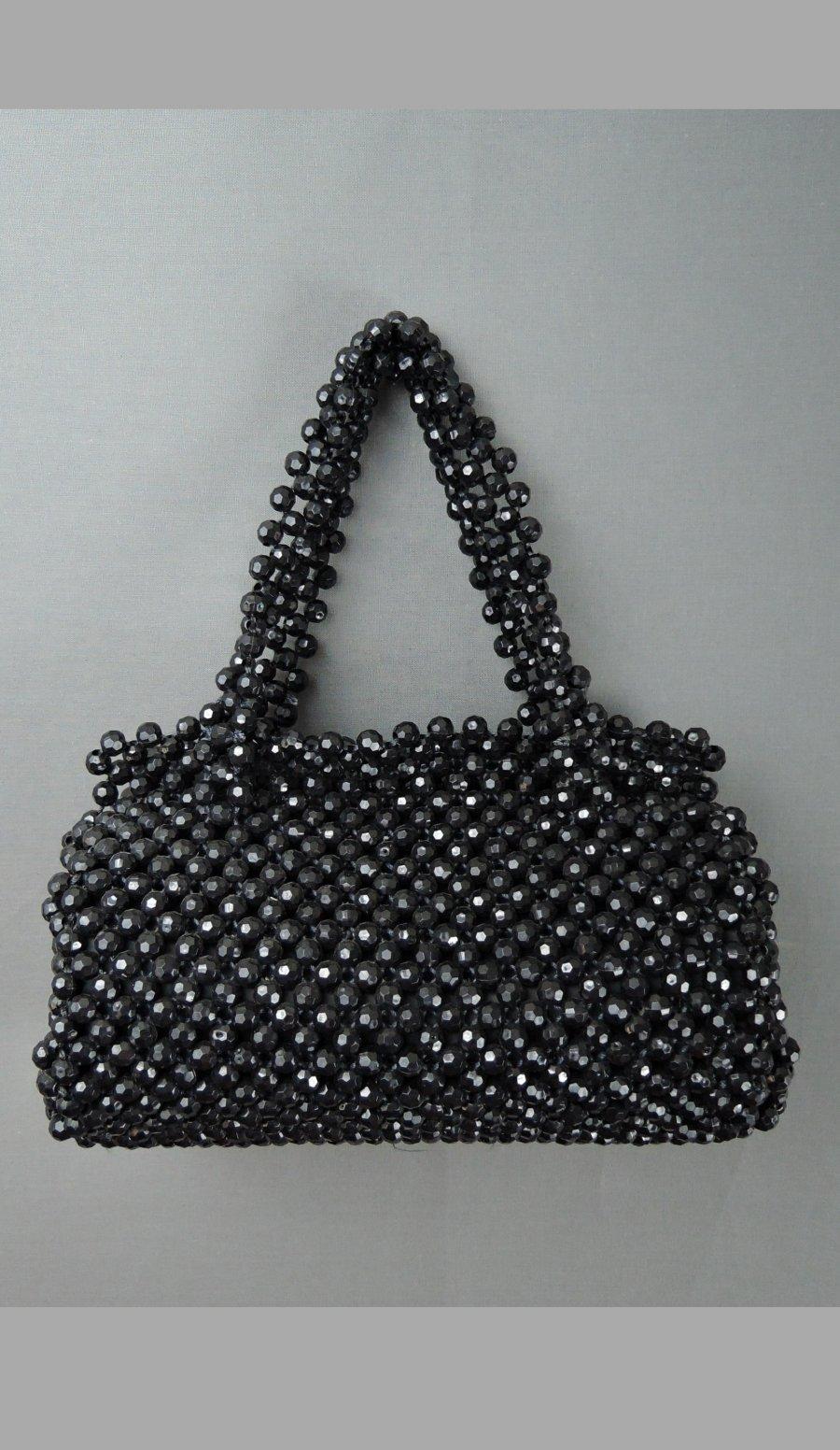 Vintage Black Plastic Beaded Purse, 9x4 inches 1960s Walborg