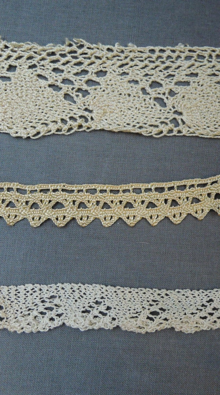 3 pieces of Vintage Crochet Lace Trim, Handmade Rayon and Cotton 1920s or earlier