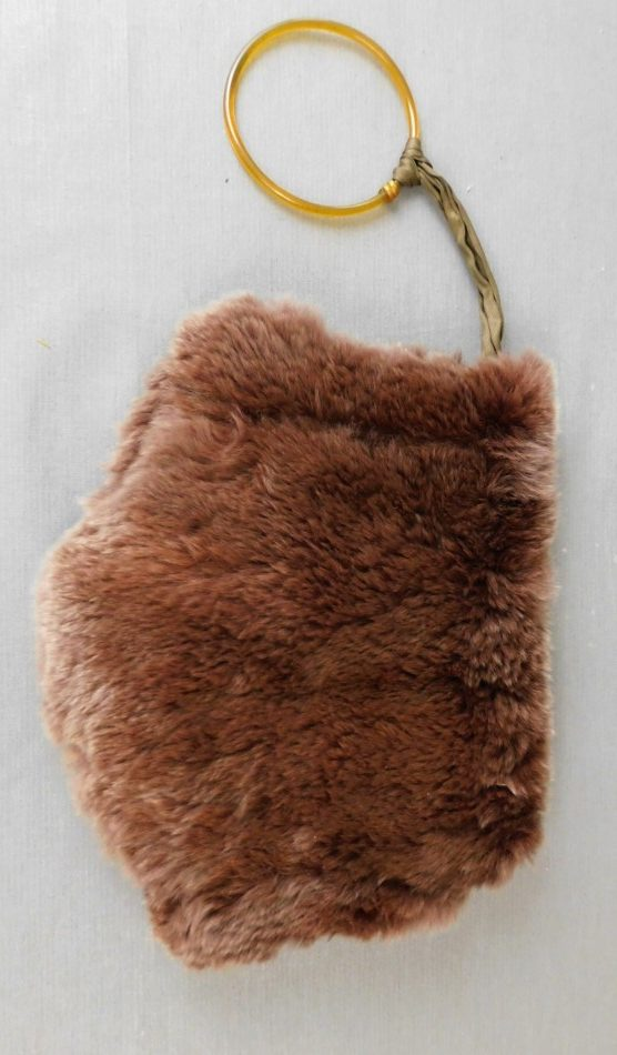 Small Vintage Brown Fur Hand Muff 1920s with celluloid ring