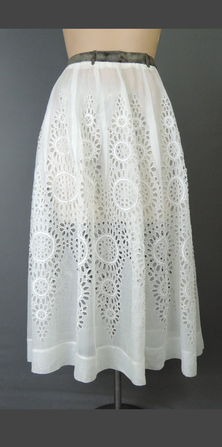 Vintage Sheer Eyelet Skirt 1940s, fits 24 inch waist, Cotton Organdy