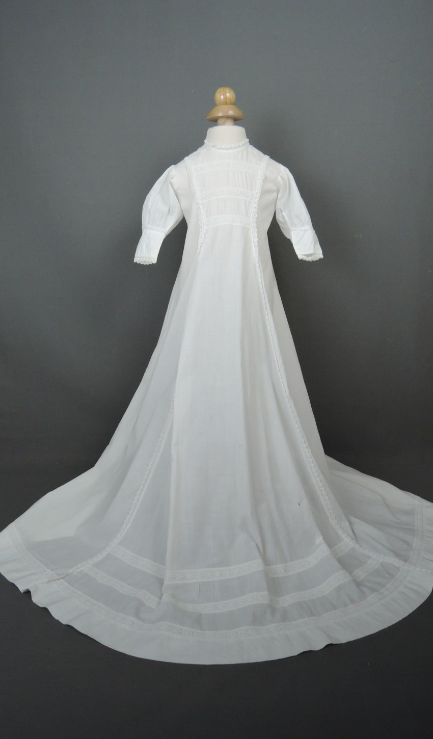 Antique 1910s Baby Christening Gown, Long White Cotton with Embroidered Lace
