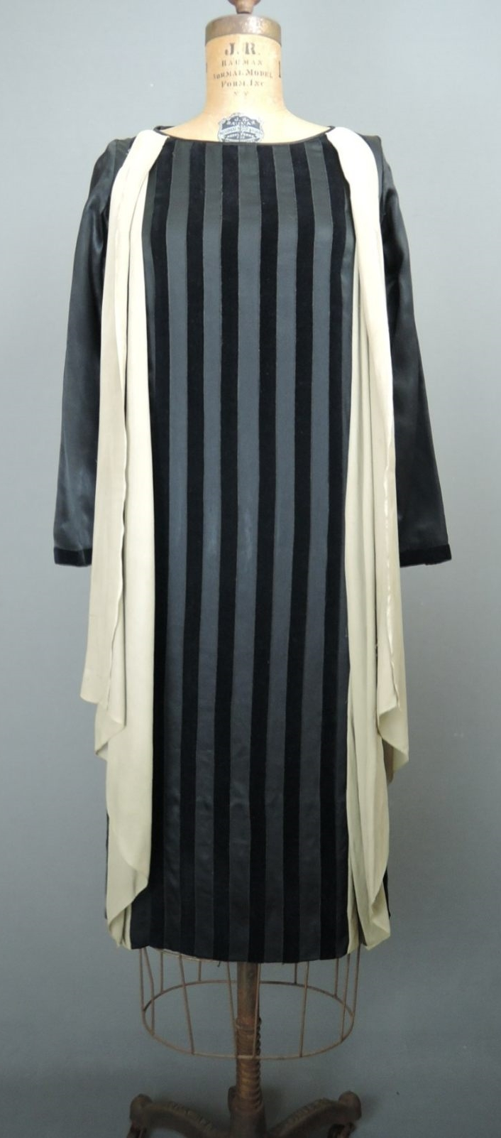 Vintage 1920s Irene Castle Corticelli Silk Dress, Black Satin & Velvet Striped, 34 bust