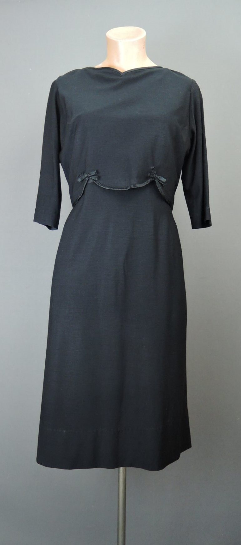 Vintage Black Dress with Ribbon Trim 1960s, fits 36 bust, thin wool