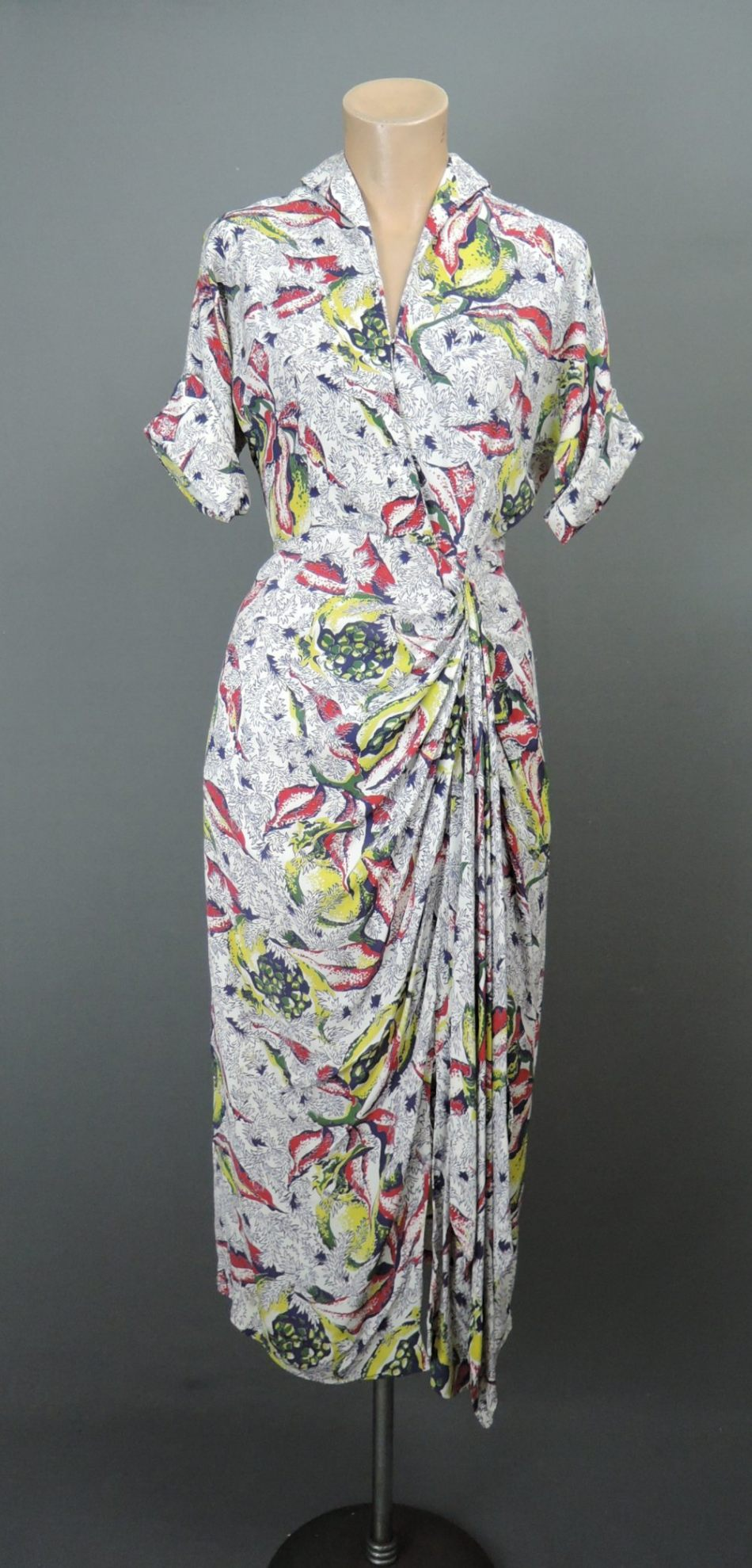 Vintage 1940s Draped Rayon Dress, Tropical Floral Print, fits 32 bust