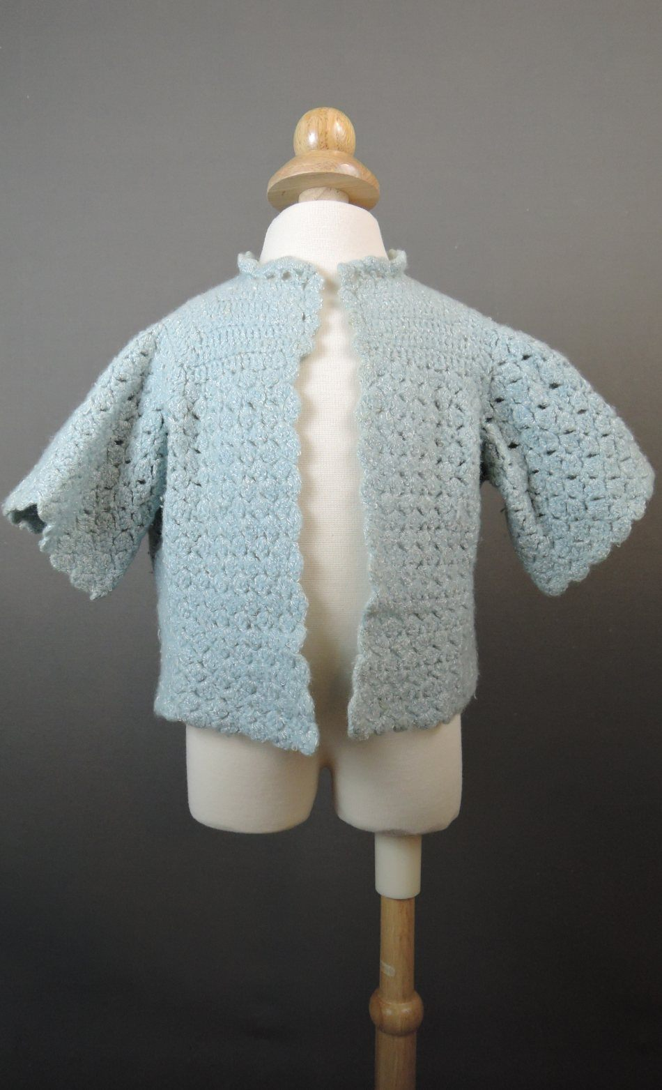 Vintage Blue Crochet Child Sweater, Handmade 26 inch chest Toddler