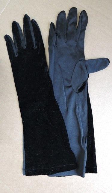 Vintage 1960s  Long Black Velvet and Nylon Gloves, 15 inches long, size 7 to 7-1/2