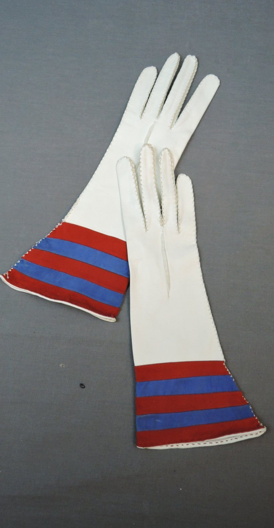 Vintage White Leather Gloves 12 inches Long with Red & Blue Suede, size 6-1/2