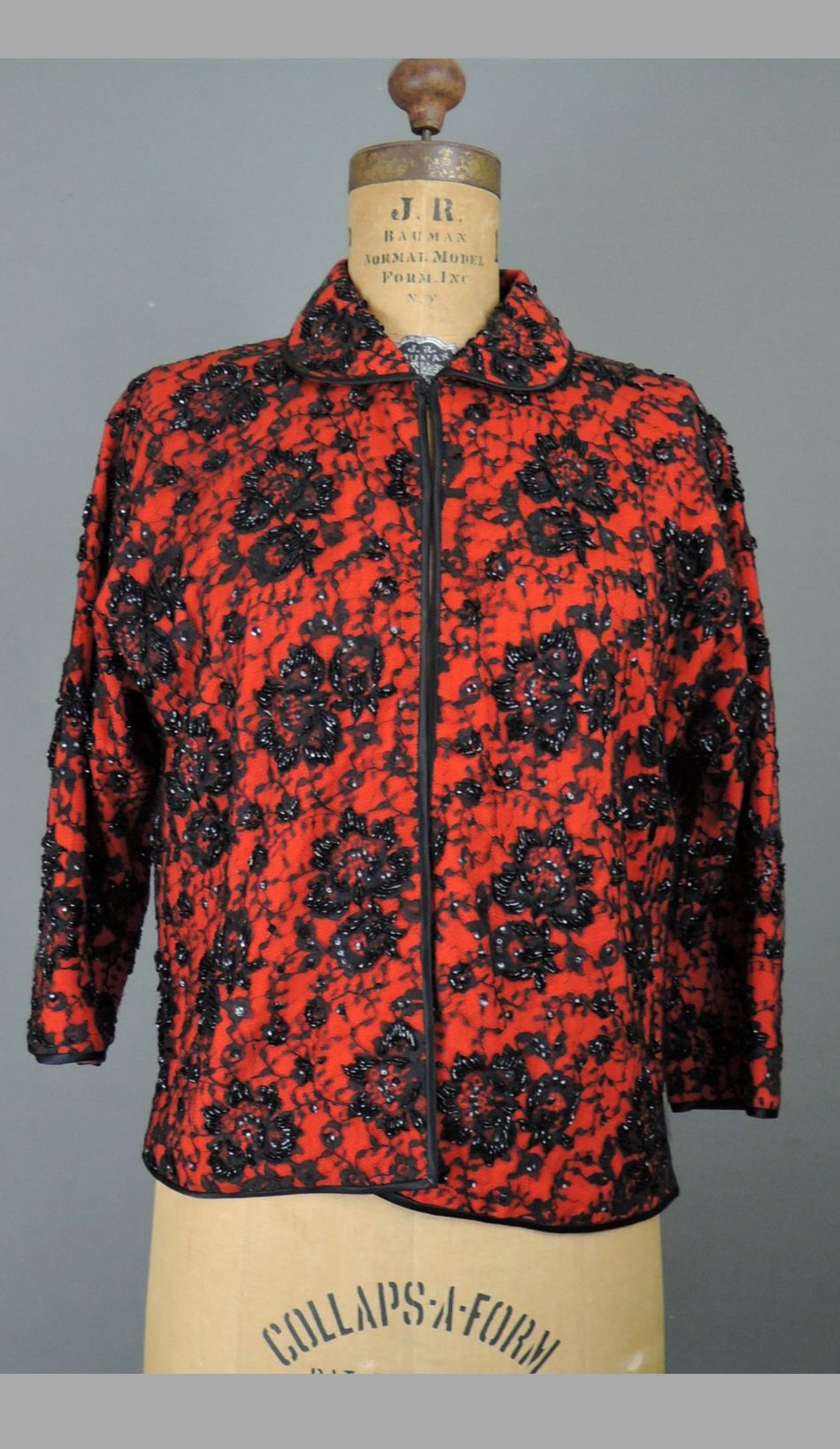 Vintage Red & Black Beaded Sequin Sweater, 38 bust, 1960s Hong Kong