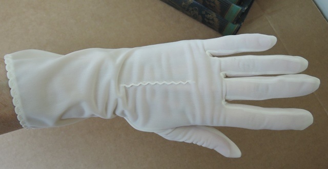 1950s Van Raalte White Semi Sheer Nylon Gloves, 10 inches, size 6-1/2
