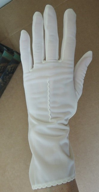 Vintage 1950s Van Raalte White Semi Sheer Nylon Gloves, 10 inches, size 6-1/2