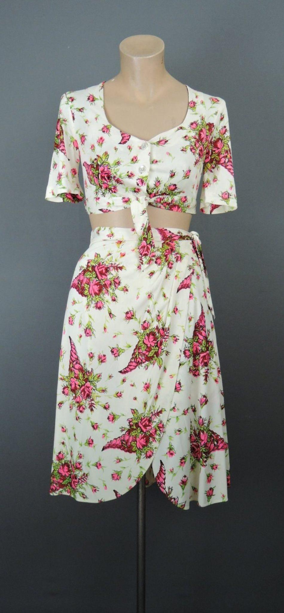 Vintage 1940s Rayon Jersey Top, Skirt & Shorts Set, Floral, 32 bust, Beau Jardin Cie