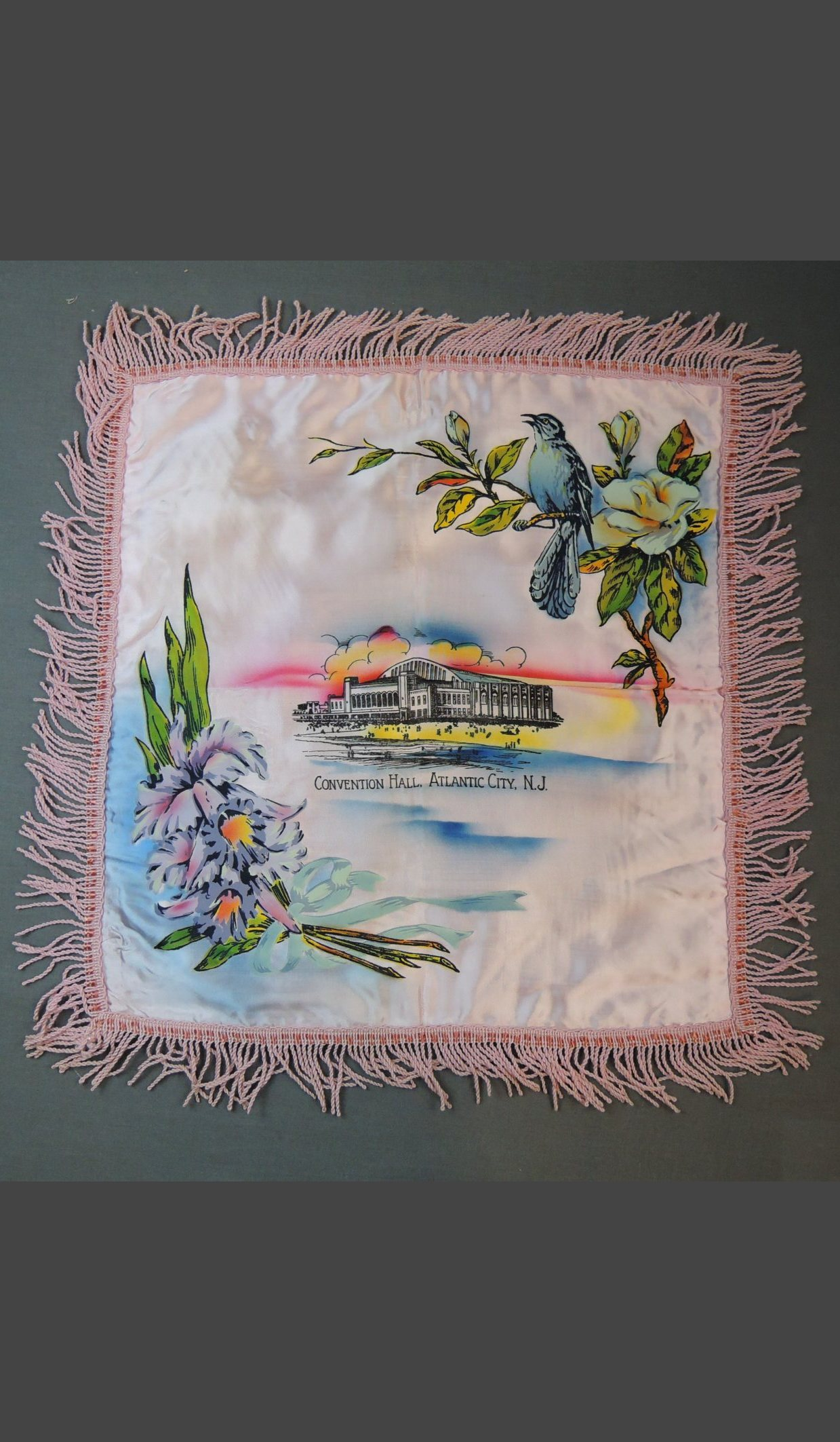 Vintage Atlantic City NJ 1940s Satin Pillow Cover with Fringe, Convention Hall Souvenir, unused
