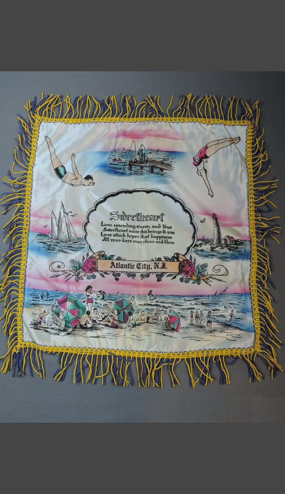 Vintage Atlantic City NJ 1940s Satin Pillow Cover with Fringe, Sweetheart, Beach Swimsuits Souvenir, unused