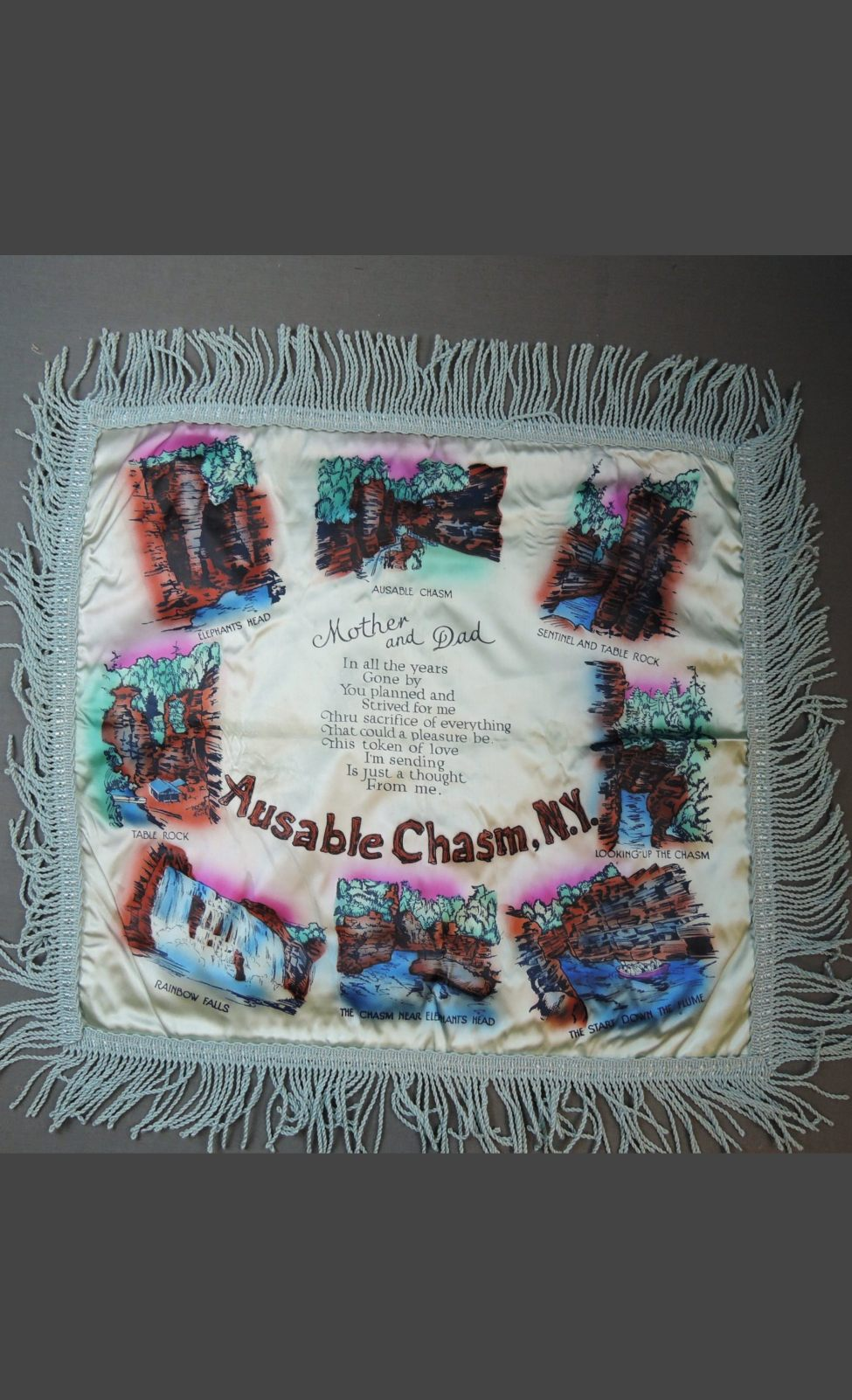 Vintage Ausable Chasm NY 1940s Satin Pillow Cover with Fringe, Souvenir, unused