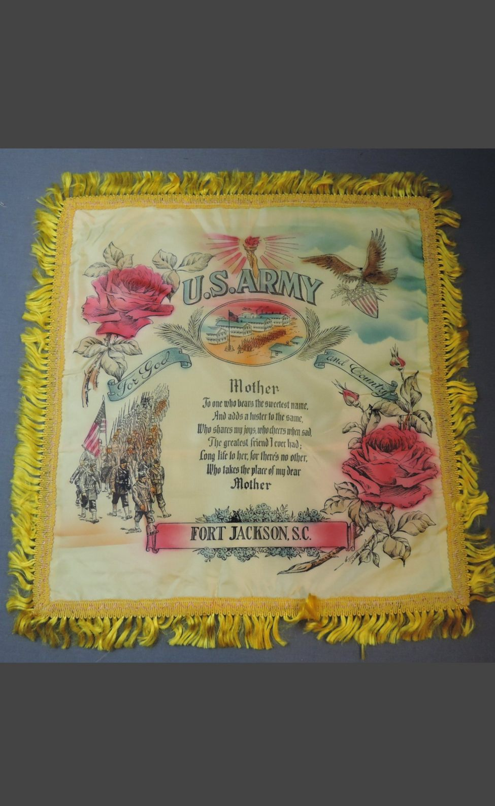 Vintage US Army Fort Jackson 1940s Satin Pillow Cover with Fringe, Souvenir Mother Poem, unused