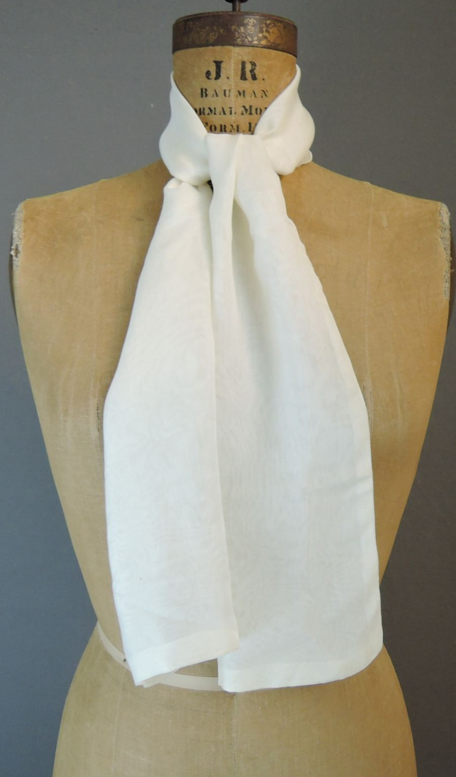 Vintage Sheer White Scarf, for Neck or Head, 1980s, 44x9 inches