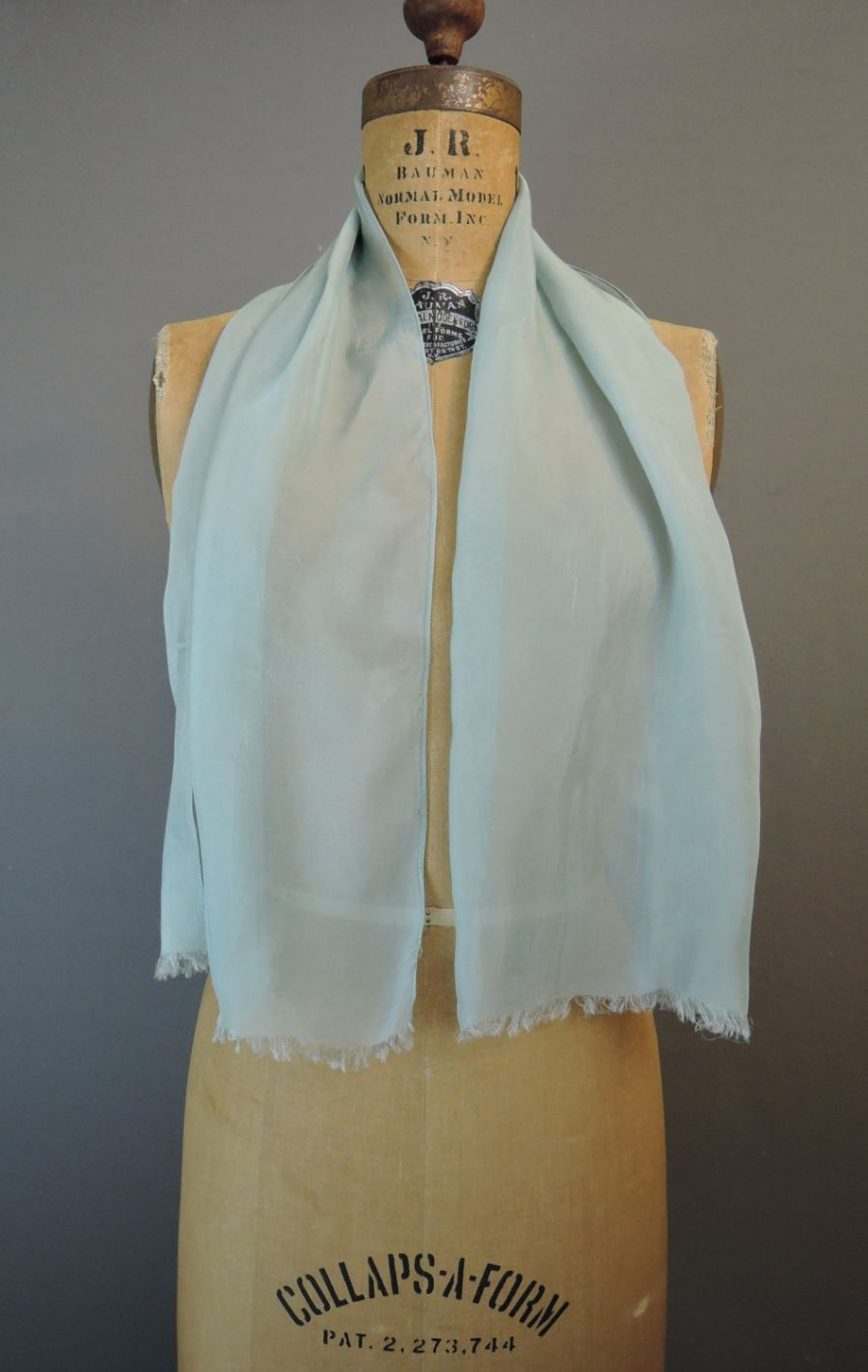 Vintage Smokey Blue Sheer Scarf for Neck or head, 1980s 44x12