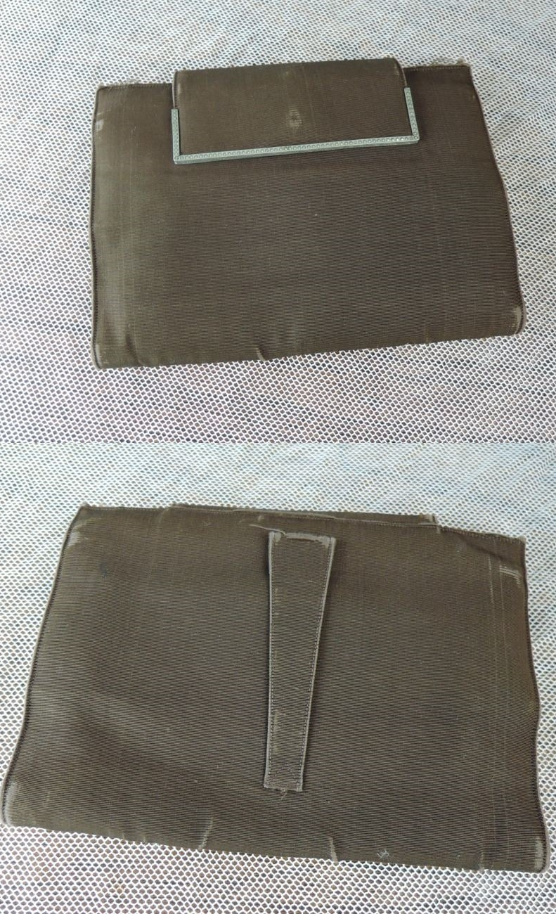 Vintage 1930s Brown Clutch Purse, AS IS Rayon with Marcasites, Koret