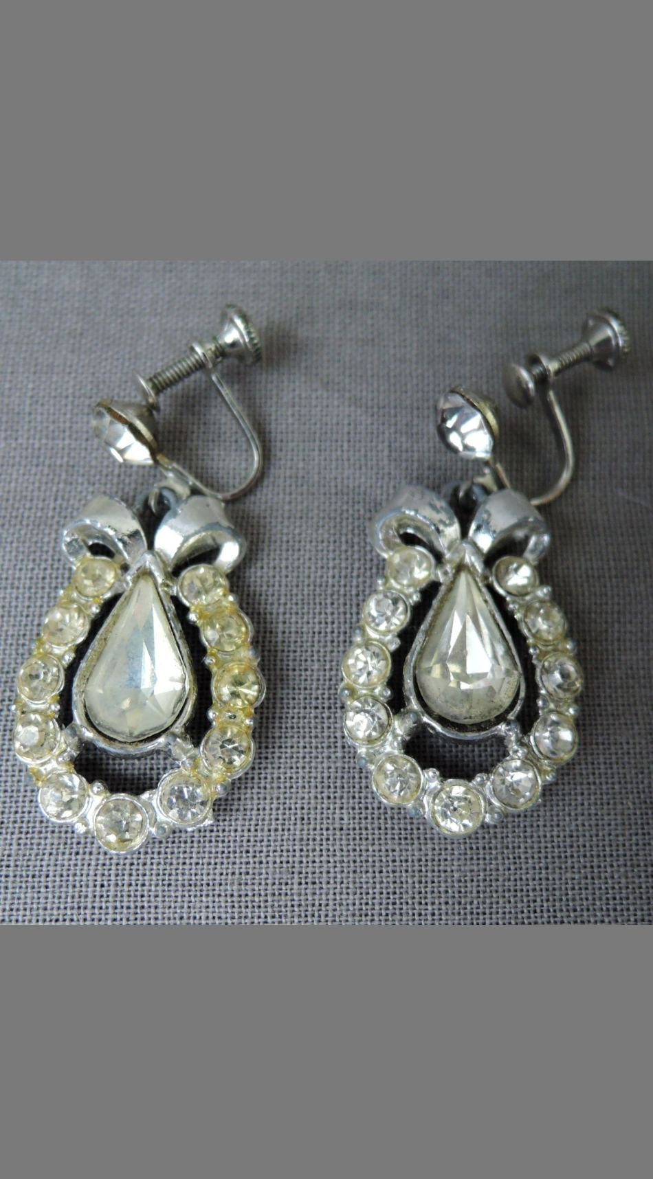 Vintage Dangling Rhinestone Earrings, 1950s Screw back, Costume Jewelry, with issues